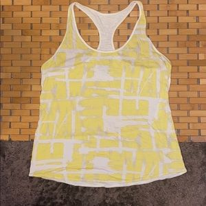 Patagonia Racerback Tank Top sz L yellow white